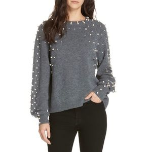 Joie Nilania Grey Cashmere Pearl Beaded Sweater